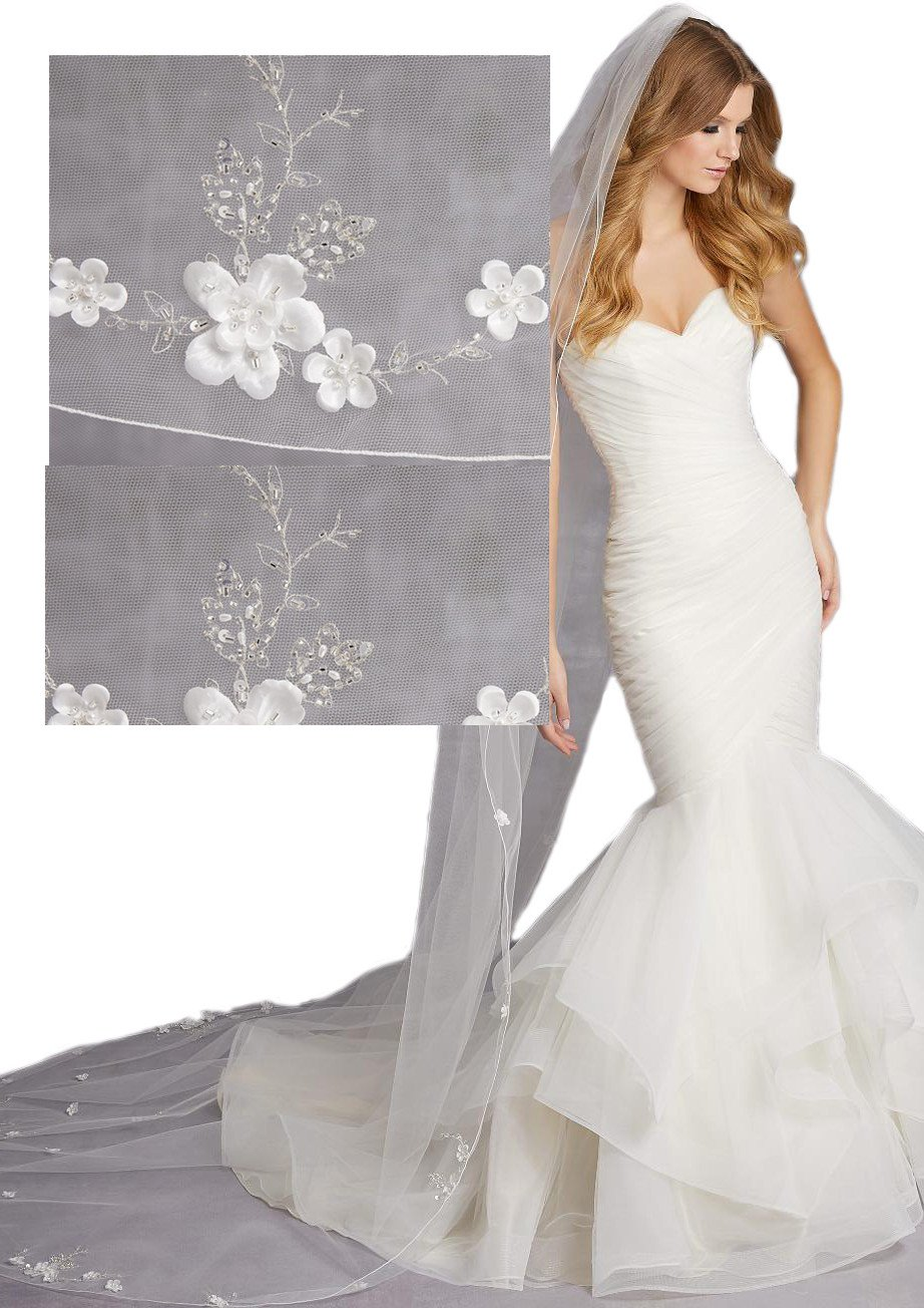 Passat White 3M Cathedral Veil with Stitched Edge Floral Beaded Pearls SequinsVL-1026
