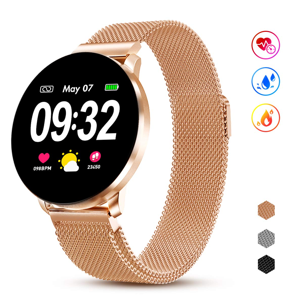 GOKOO Smart Watch for Men Women with Heart Rate Blood Pressure Sleep Monitor Remote Camera Music Control Activity Fitness Tracker Waterproof Calorie Step by GOKOO