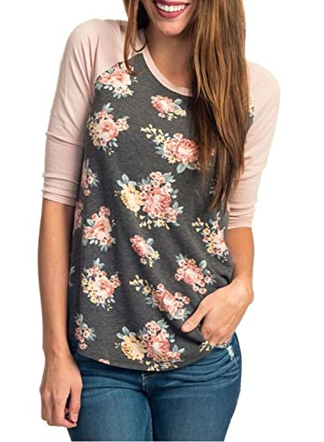 HOTAPEI Women Casual Floral Print 3 4 Sleeve Striped Crew Neck Blouse Tops