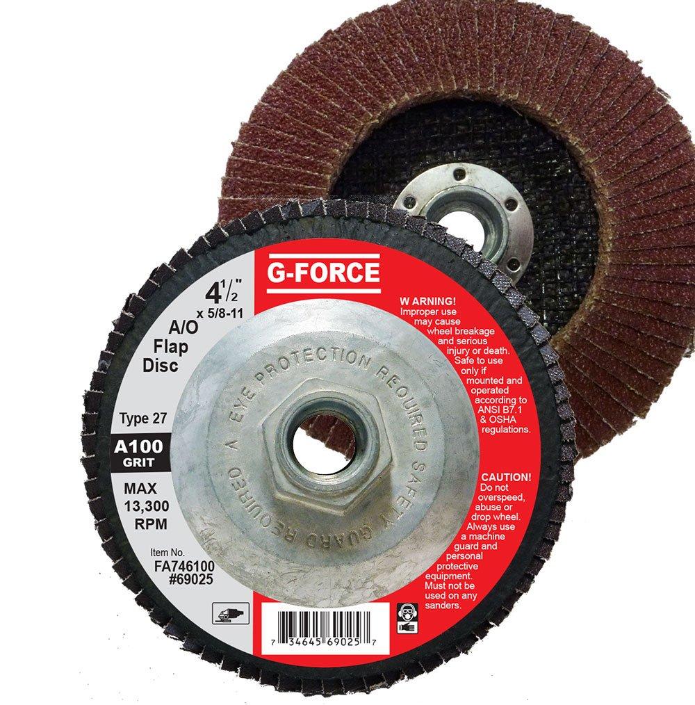 100 Grit Aluminum Oxide Pack of 10 5//8 11 Hub Griton FA746100 Industrial Type 27 Abrasive Flap Disc 4 1//2 Diameter 4 1//2 Diameter 5//8 11 Hub