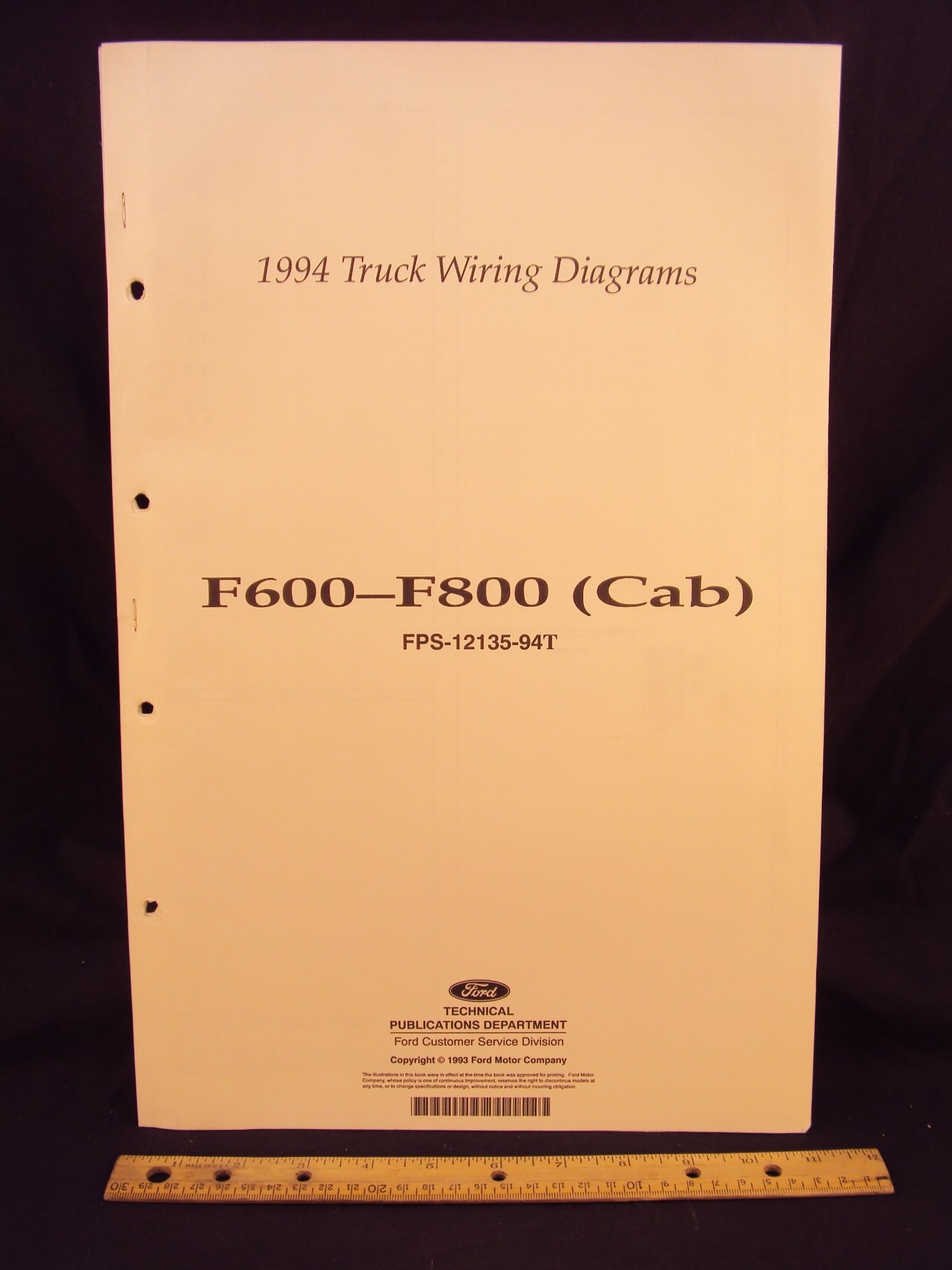 1994 ford f600, f700, & f800 series cab truck electrical wiring diagrams /  schematics loose leaf – january 1, 1993