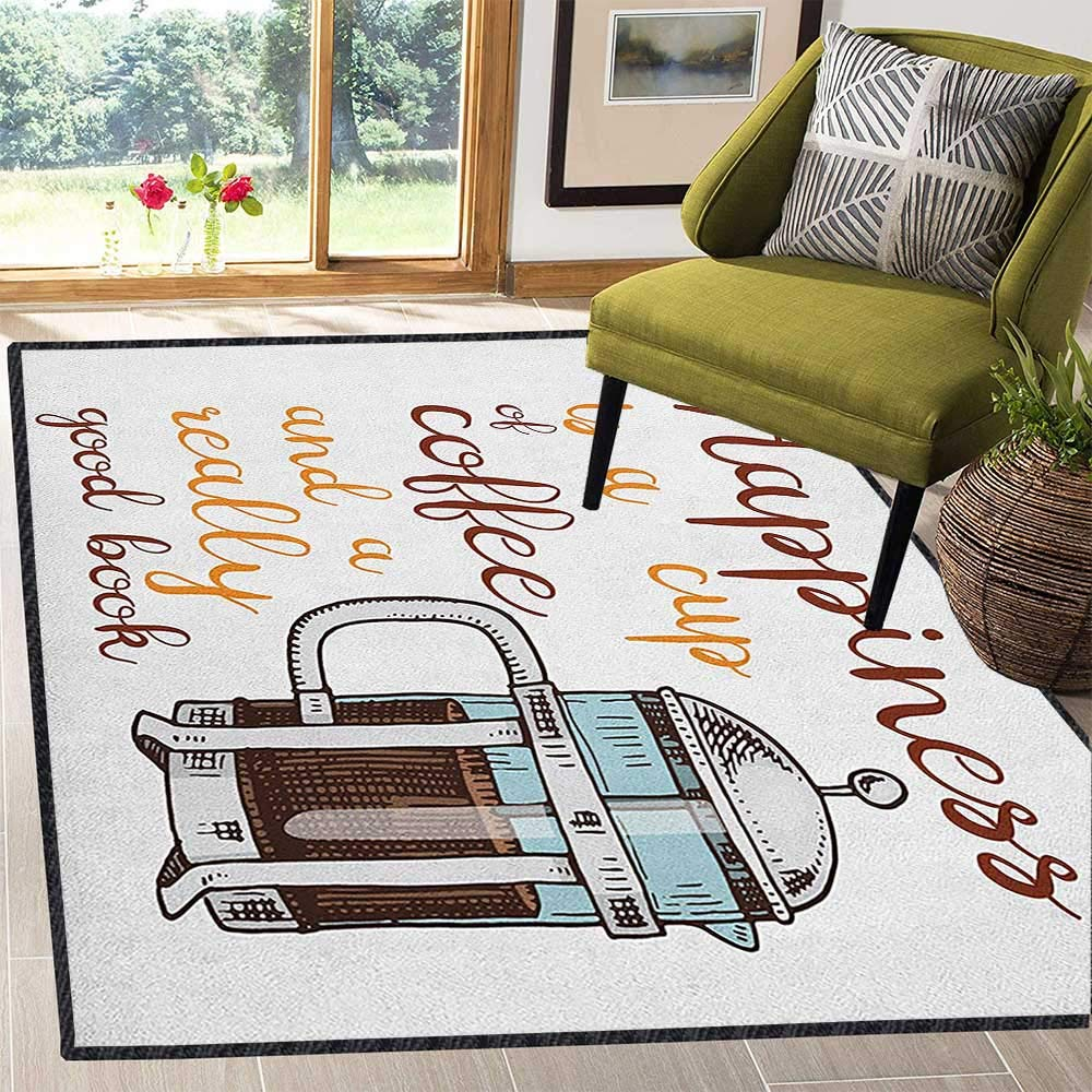 Coffee Super Cozy Bathroom Rug Carpet,French Press with Hot Aromatic Beverage and Hand Written Style Inspirational Quote Non Slip Absorbent Super Cozy Multicolor 59''x71'' by Philip C. Williams