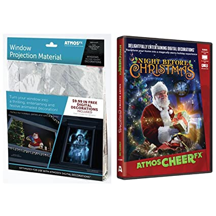 atmosfearfx christmas digital decorations kit includes atmosfx 4 ft x 6 ft projection screen atmoscheerfx - Christmas Digital Decorations
