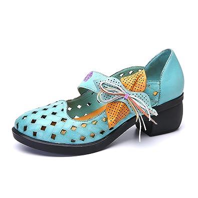 gracosy Damen Pumps, Mary Jane Schuhe Leder Slipper Damen Halbschuhe Party Schuhe Leder Klassische Pumps Vintage Flats Blockabsatz