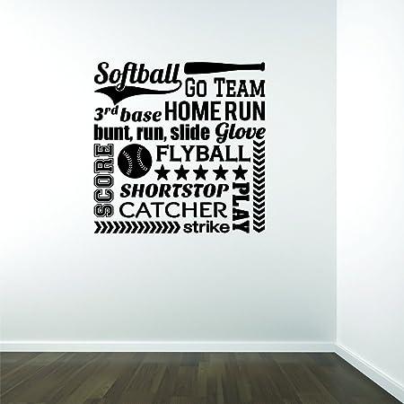 Design with Vinyl JER 532 1 Softball Sports Go Team 3rd Base Home Run Bunt Run Slide Glove Score Flyball Shortstop Catcher Play Strike Vinyl Wall Decal Black 12 x 12