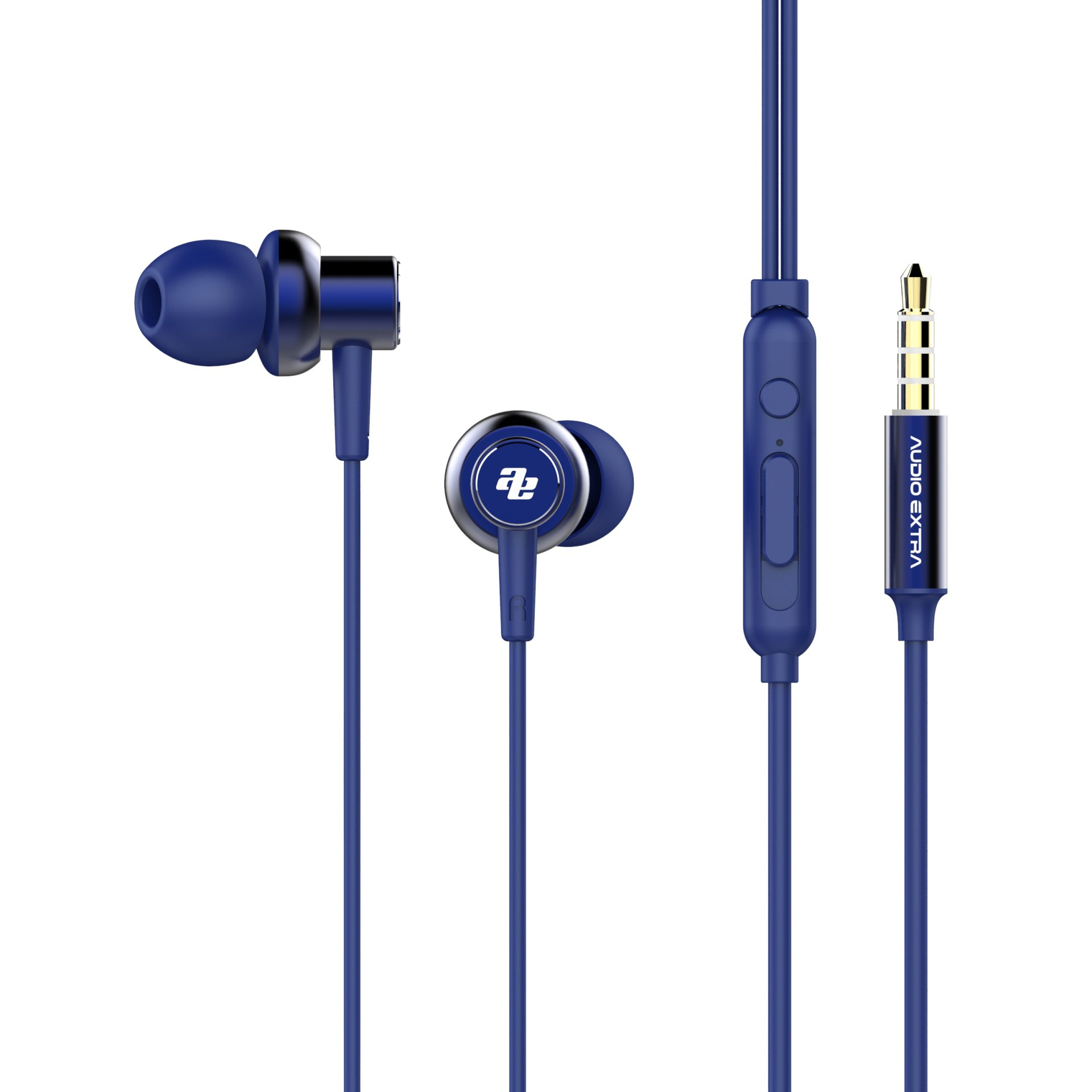 AUDIO EXTRA Angled In-Ear Earphones with MIC & Volume Control 4 ft Cord 3.5mm Audio Jack Clear Powerful Sound AE-A7 (Blue)