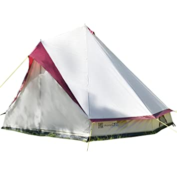 super popular ab41b 0e6c2 Skandika Tipii II 8 Person Tent Festival Party Tent Teepee Wigwam with 250  cm Height, 3000 mm Water Column & Zip-Up Walls