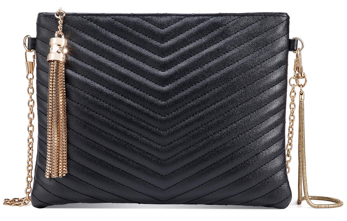 Women Clutch Purse Crossbody Evening Bags with Faux Leather Chain Wristlet Strap (Black)