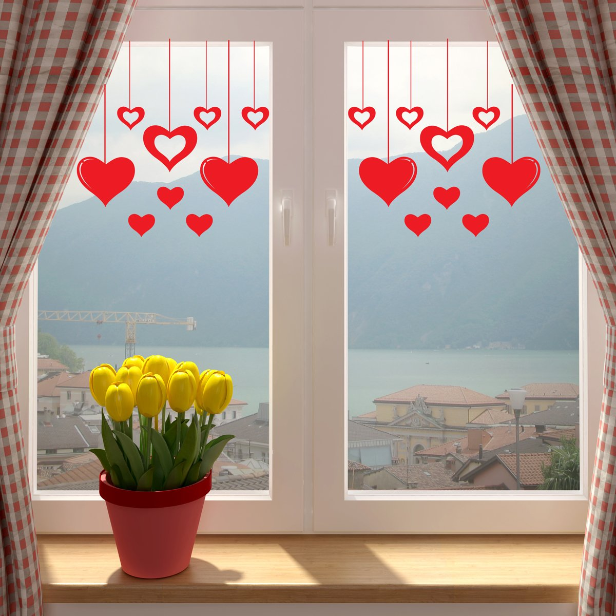 Valentines Day RED Hanging Hearts Window Or Wall Sticker. SINGLE USE ...