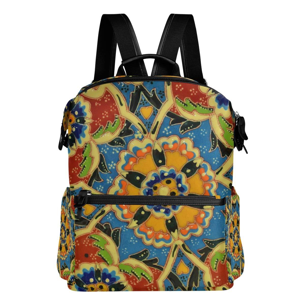 f9fa77bdb1 FAJRO Zaino da viaggio coloreato coloreato coloreato con motivo floreale a  mosaico 7919e5