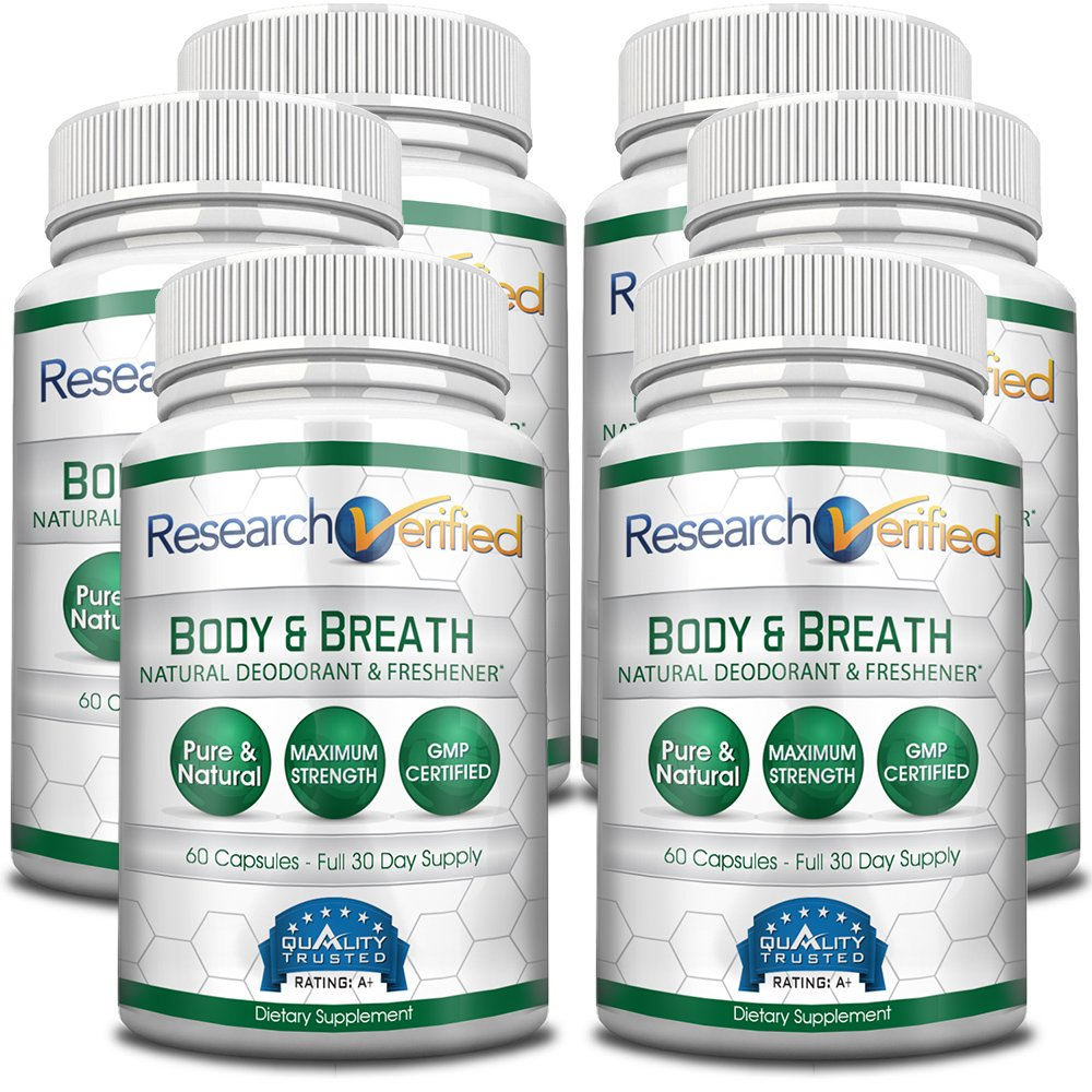 Research Verifed Body & Breath Natural Deodorant & Freshner - #1 Bad Breath & Body Odor Supplement - Provides Relief from Offensive Smells While Balancing Good Bacteria - 6 Bottles (6 Months Supply)