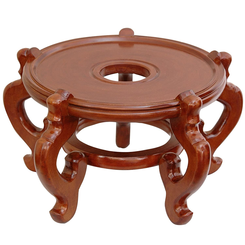 Oriental Furniture Rosewood Fishbowl Stand – Honey – Size 8.5 in. Base Diameter