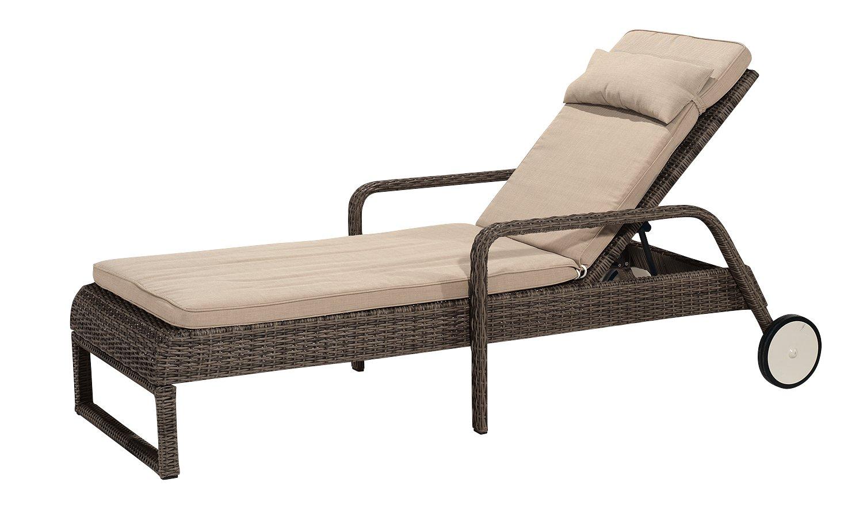 Gartenfreude Liege Polyrattan mit verstellbarer Rückenlehne, Aluminiumgestell, Cappuccino, 210 x 72 x 56 cm