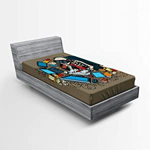 Ambesonne Gamer Fitted Sheet, Skeleton Programmer and Hacker in Virtual Reality Eating Fast Food Theme Illustration, Soft Decorative Fabric Bedding All-Round Elastic Pocket, Twin Size, Taupe Blue