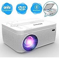 BIGASUO Projecteur DVD , Bluetooth Projecteur Protable 3500 lumens de vidéo projecteur cinéma avec Fonction Full HD 1080p, Compatible iPhone / iPad / Ordinateur Portable / HDMI / VGA / SD / USB / AV