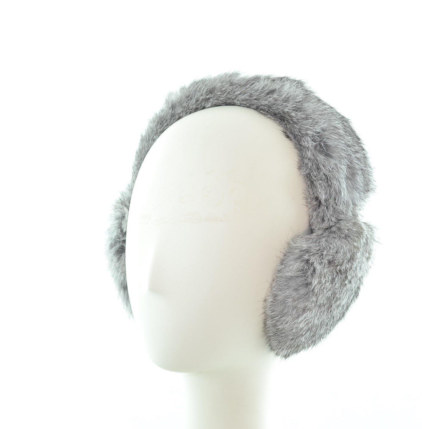 Surell Genuine Grey Rabbit Fur Earmuffs with Soft All Fur Non Adjustable All Fur Head Band, Winter Fashion Ear Warmers, Perfect Elegant Women's Luxury Gift
