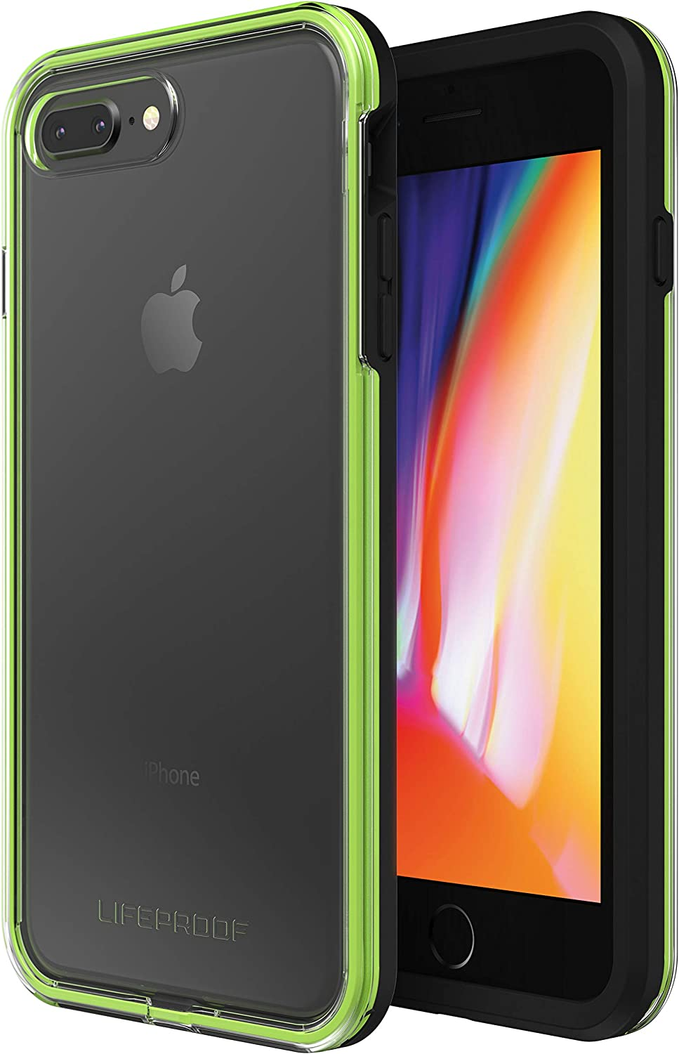 Lifeproof SLAM Series Case for iPhone 8 Plus & 7 Plus (ONLY) - Retail Packaging - Night Flash (Clear/Lime/Black)