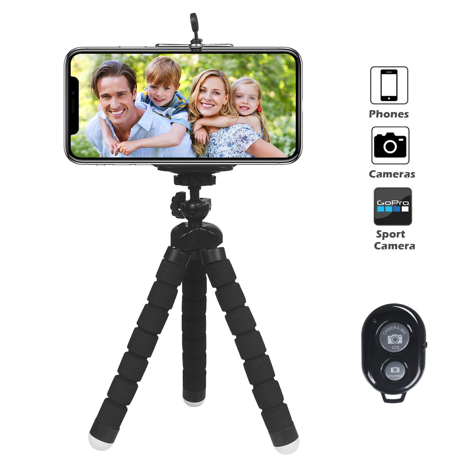 Tripod For iPhone, ARNIL iPhone Tripod Universal Smartphone Phone Tripod with Remote Shutter for iPhone, Samsung and Gopro Action Camera