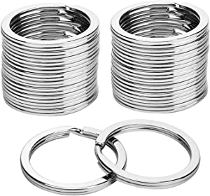 KINGFOREST 100PCS Flat Key Rings 1.2 Inch, Metal Keychain Rings Split Keyrings Flat Ring for Home Car Office Keys Attachment