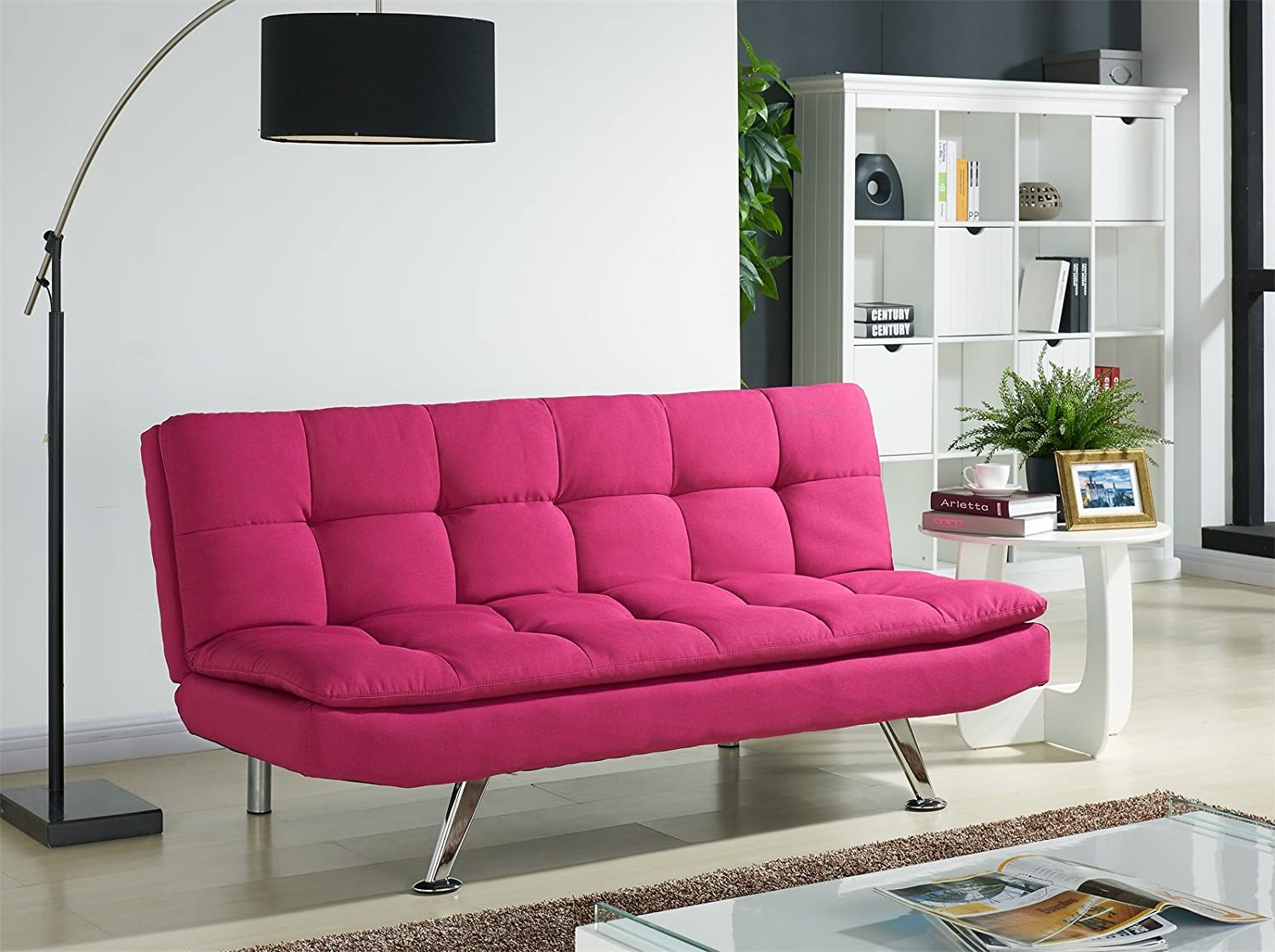 Luxurious Modern Fabric Sofa Bed OR Matching Recliner Chair with Chrome Legs, AVAILABLE in 5 Colours, Padded for Extra Comfort (Cream Single Chair, 93cm x 89cm x 84cm) Home Detail
