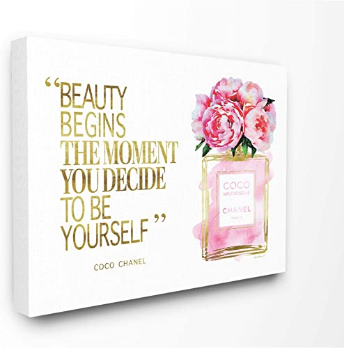 Stupell Industries Fashioner Perfume Gold Pink Watercolor Inspirational Word