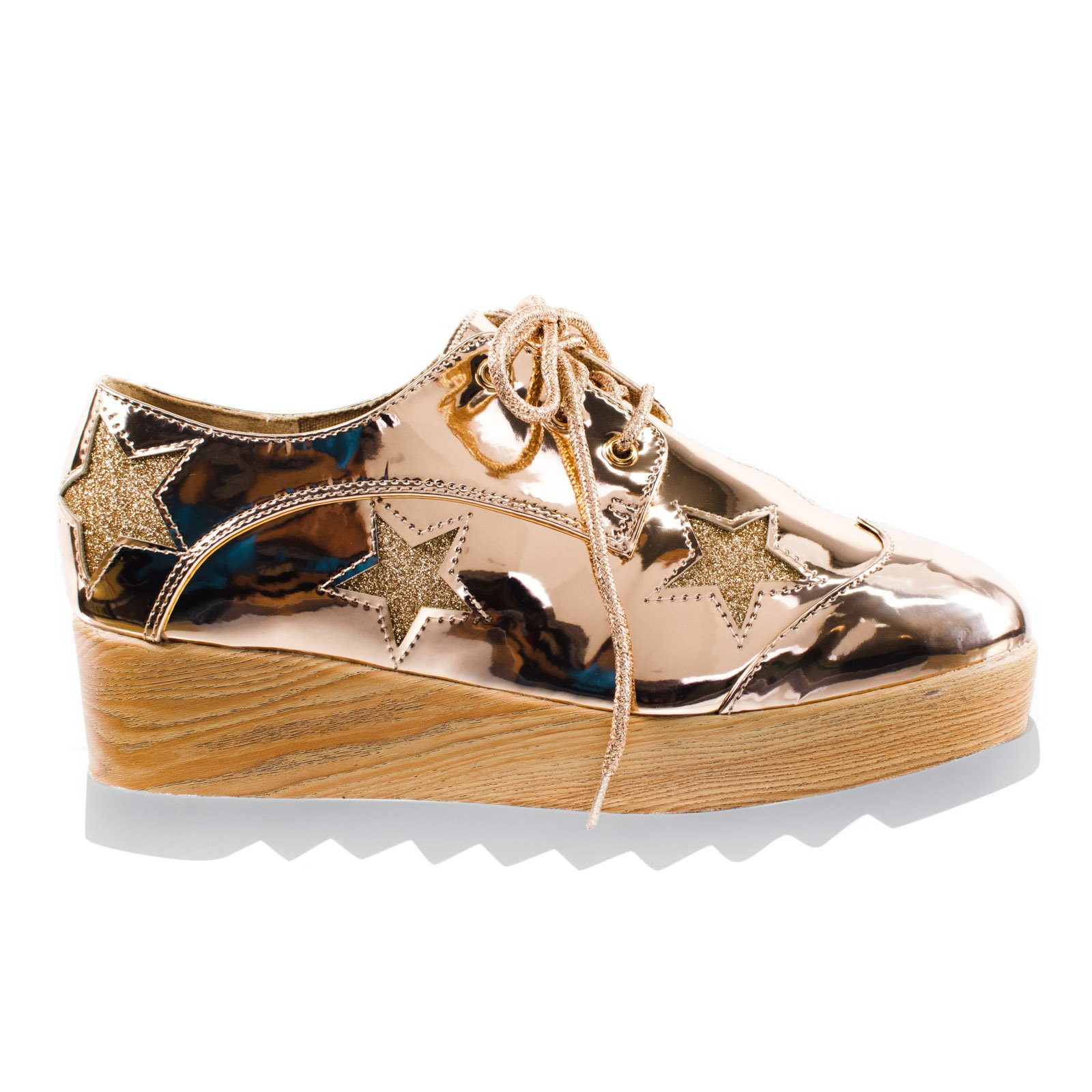 Besty02 Rose Gold 90's Wooden Platform Lug Sole Creepers Oxford Brogue w Glitter Star -7