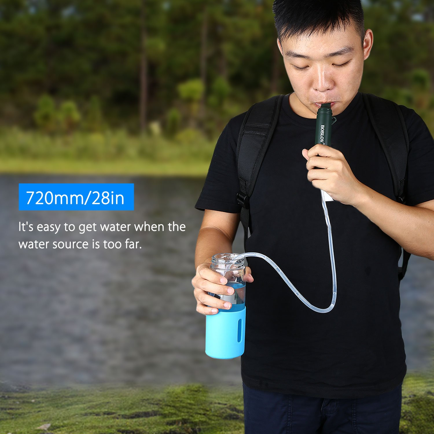Personal Water Filter Straw Portable Purifier for Hiking, Camping, Travel, and Emergency Preparedness 1500L/1year (Army Green)