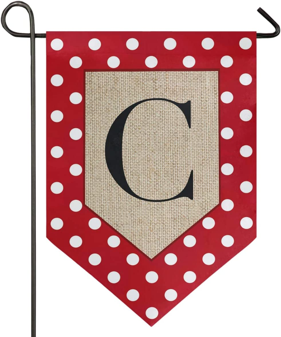Oarencol Monogram Letter C Polka Dot Garden Flag Red and White Classics Double Sided Home Yard Decor Banner Outdoor 12.5 x 18 Inch