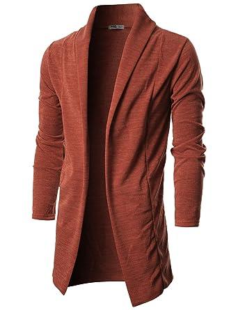 286776530b2 Ohoo Mens Long Sleeve Draped Lightweight Open Front Shawl Collar Longline  Cardigan DCC026-ORANGE