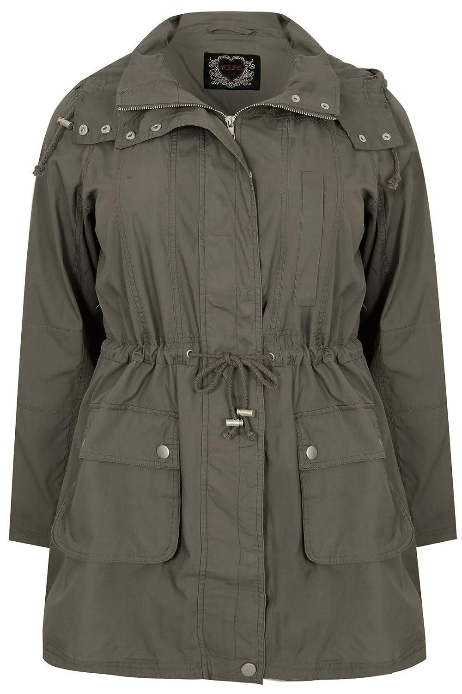 Yoursclothing Plus Size Womens Washed Cotton Parka Jacket With Hood