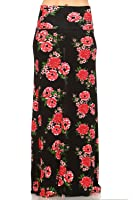 Frumos Womens Solid Flared Modal Maxi Skirts