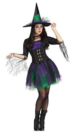Amazon.com: Adult Green Purple Black Spellbinding Witch Costume ...