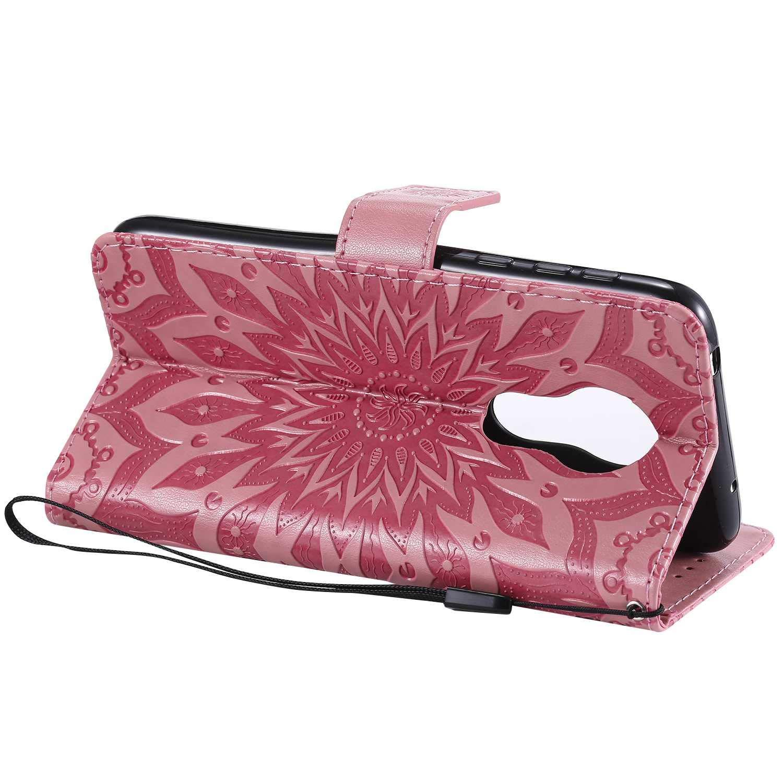 KKEIKO Moto G7 Power Case Moto G7 Power Flip Leather Wallet Case Notebook Style Pink Sun Flower Design Shockproof Cover for Moto G7 Power