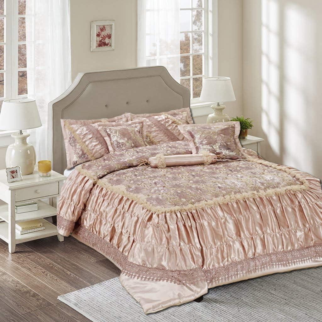 Tache Home Fashion 6 PC Beige Roses Sequin Chic Victorian Ruffled Warm Decorative Faux Satin Comforter Bedding Set, Cal King