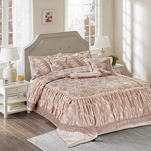 Tache 6PC Solid Floral Beige Ruffle Elegant Wedding Comforter Quilt Bedding Set