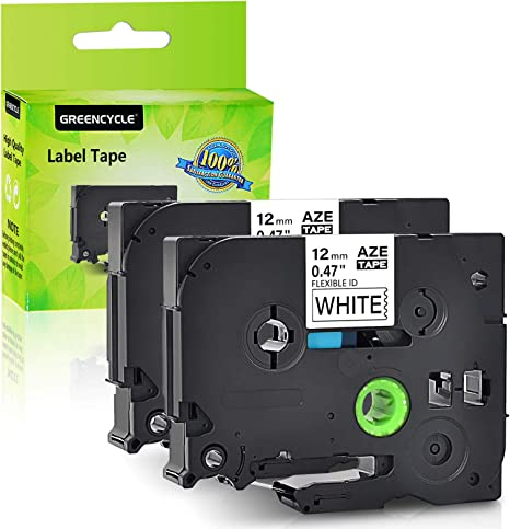 """PT-310 Brother TZeFX231 1//2/"""" 12mm Black on White Flexible tape PT310"""