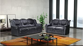 Delicieux 3 2 Seater Sofa Set Living Room Suite Faux Leather Black Foam Seats High  Back Settee