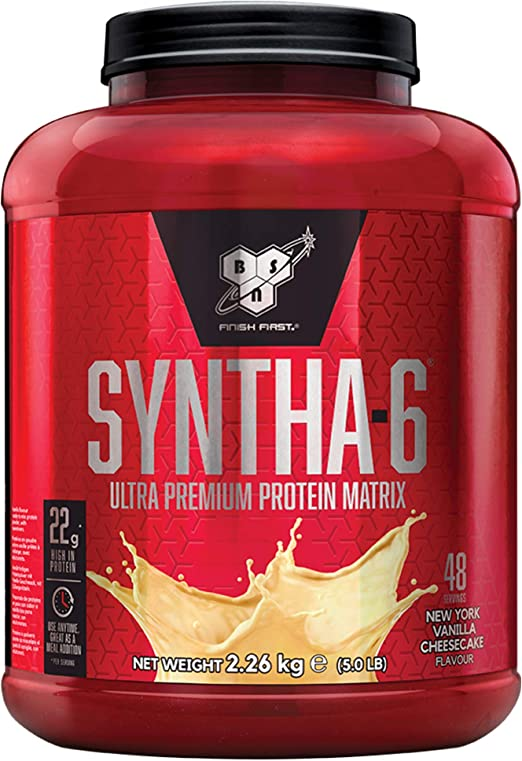 BSN Syntha 6 Ultra-Premium Proteínas en Polvo para Aumentar Masa Muscular y Recuperación, Tarta de Queso de Vainilla, 48 Porciones, 2.26 kg