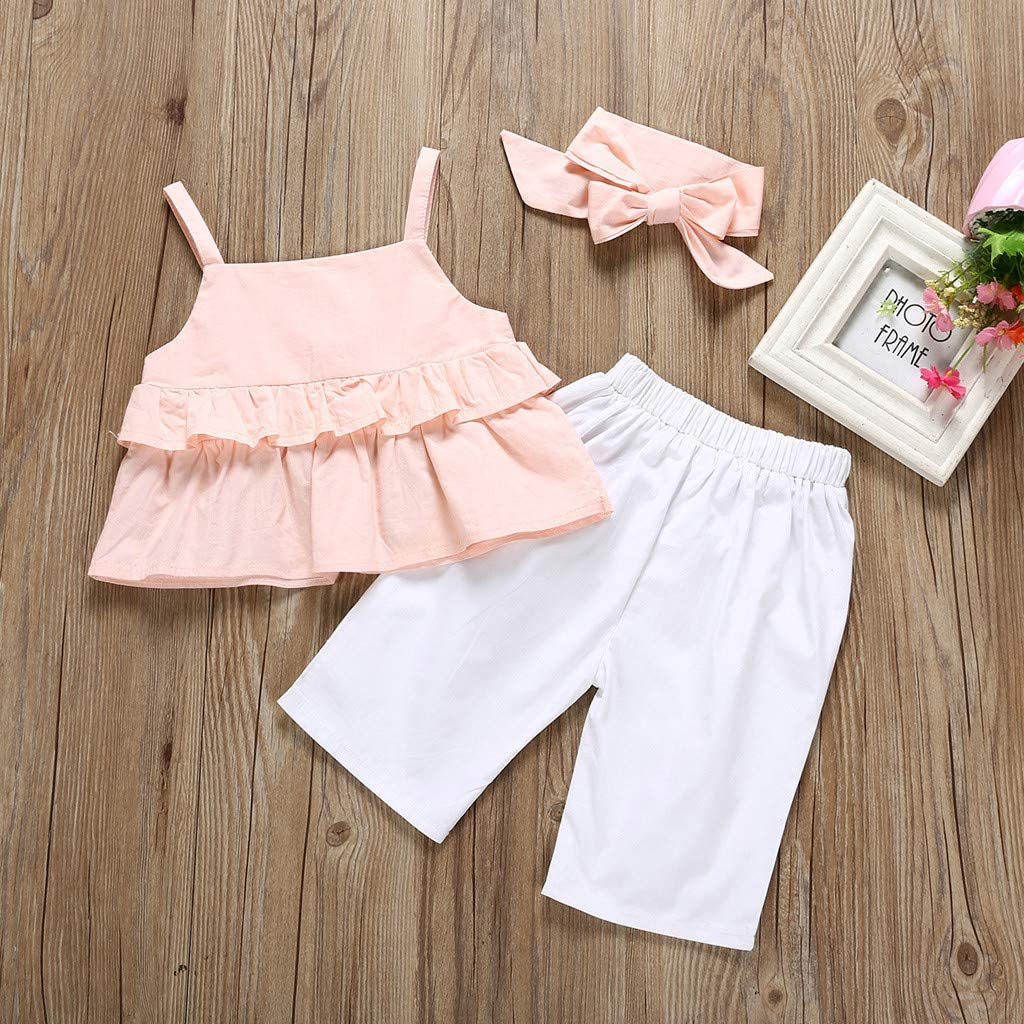 Toddler Baby Girls Kids 2019 Summer Clothes Outfit Cuekondy Fashion Straps Ruffle Tops Vest+Pants+Headband 3pc Set