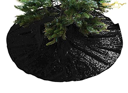 shinybeauty embroidered sequined holiday black sequin tree skirt 24inch christmas tree skirt polyester - Black Christmas Tree Skirt