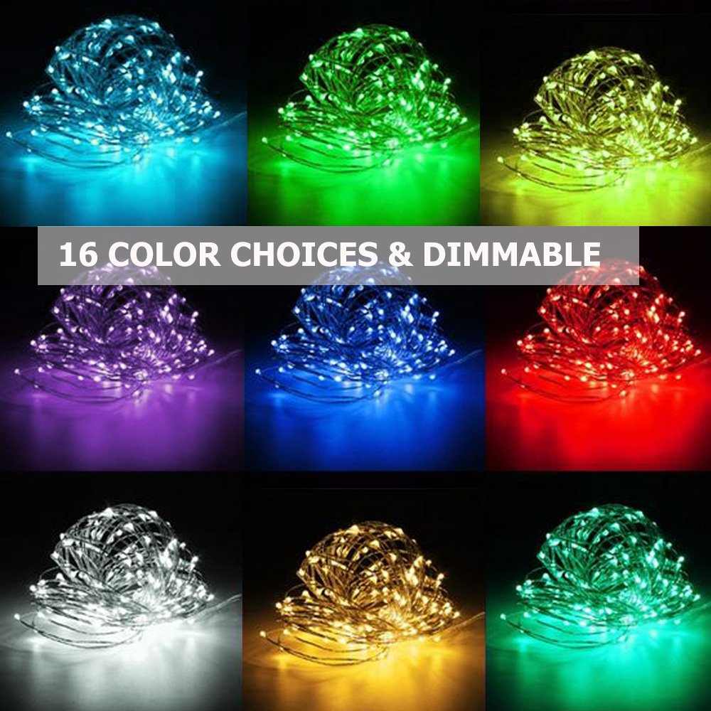 Onforu 33ft Rgb Fairy Lights 16 Colors Changing String Lights 100