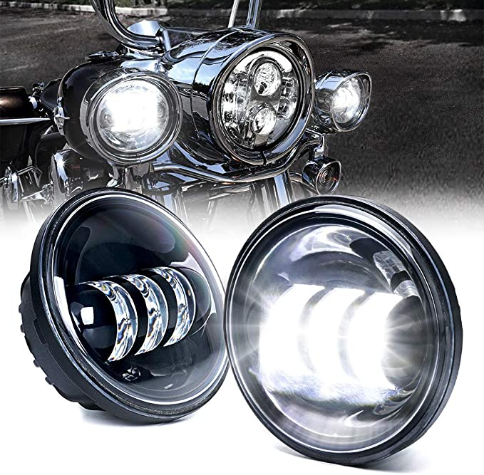 HOZAN Black 7inch LED Motorcycle Headlight with 4.5 4-1//2inch Fog Passing Lamp for Harley Road King Street Glide Electra Glide
