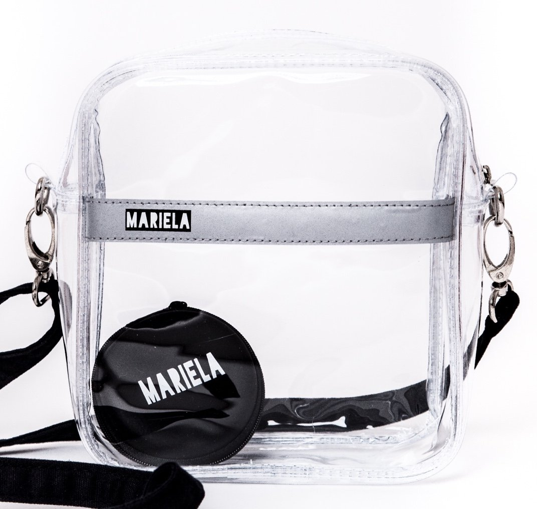 Clear Crossbody Shoulder Messenger Bag for Women//Upgraded Version/Stadium Approved/Transparent PVC Purse for Football Games/NFL PGA NCAA/6.7 x 7.5 x 2.75/ Reflective Strip/Comes w/a Headphone Case