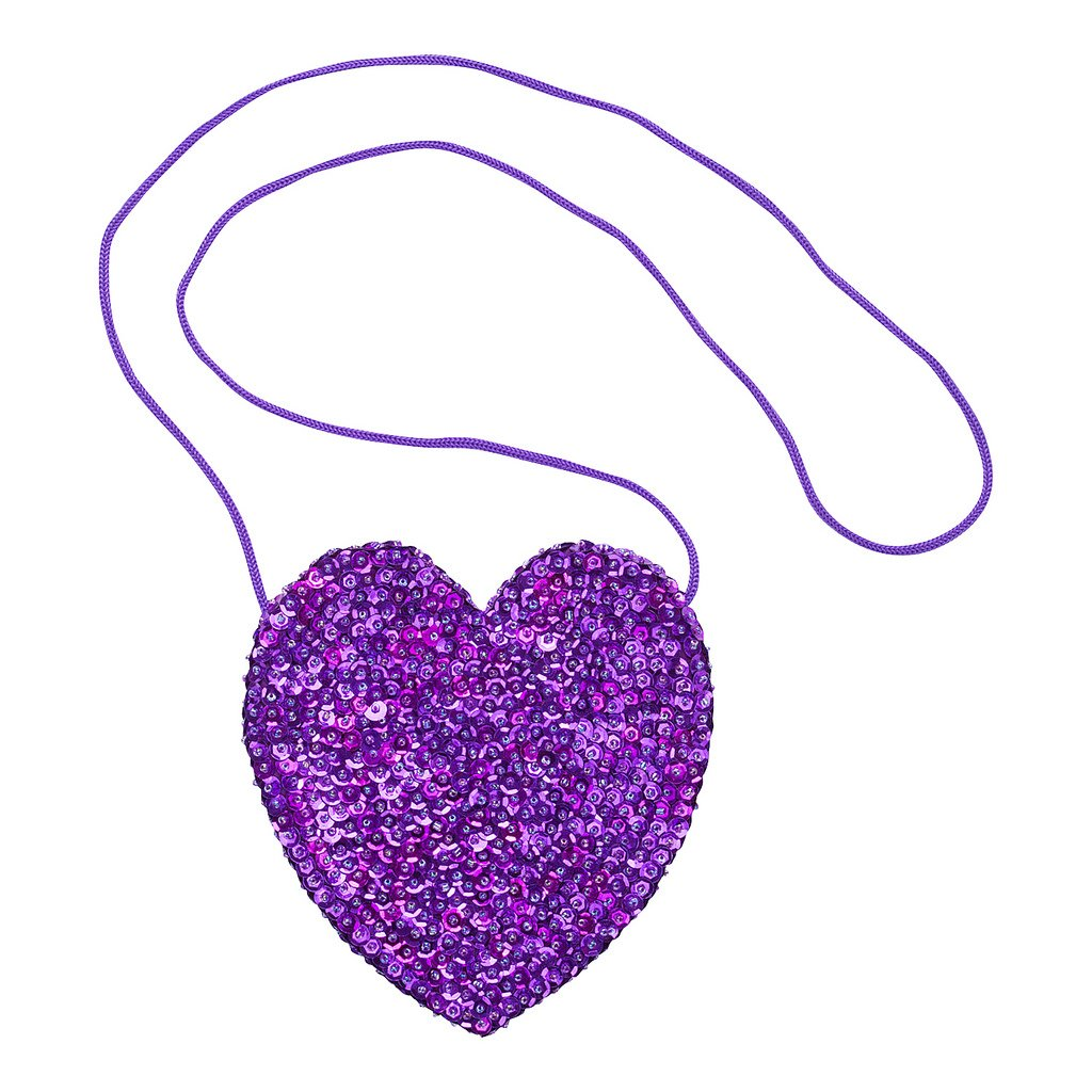 Shu-Shi Girls Sequin Heart Shaped Purse Bag Long Ribbon Strap
