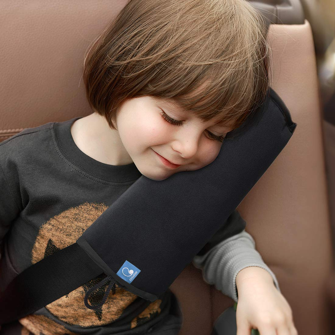COOLBEBE Seat Belt Pillow for Kids, Extra Soft Support Travel Pillow for Head Neck and Shoulder in Car, Universal Carseat Strap Cushion Pads for Childs Baby People Adults, Black
