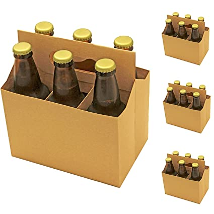 6 Pack Beer Bottle Carrier, Kraft Beer Holder, Durable Six Pack Box for Cans