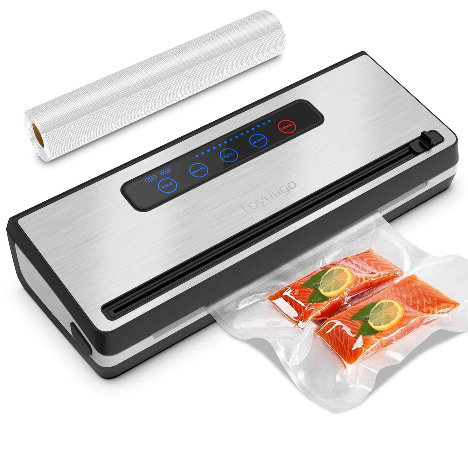 Upgraded Vacuum Sealer Machine, Toyuugo Automatic Vacuum Air Sealing System with Dry & Moist Food Modes and One Roll Starter Kit for Food Preservation and Sous Vide by toyuugo