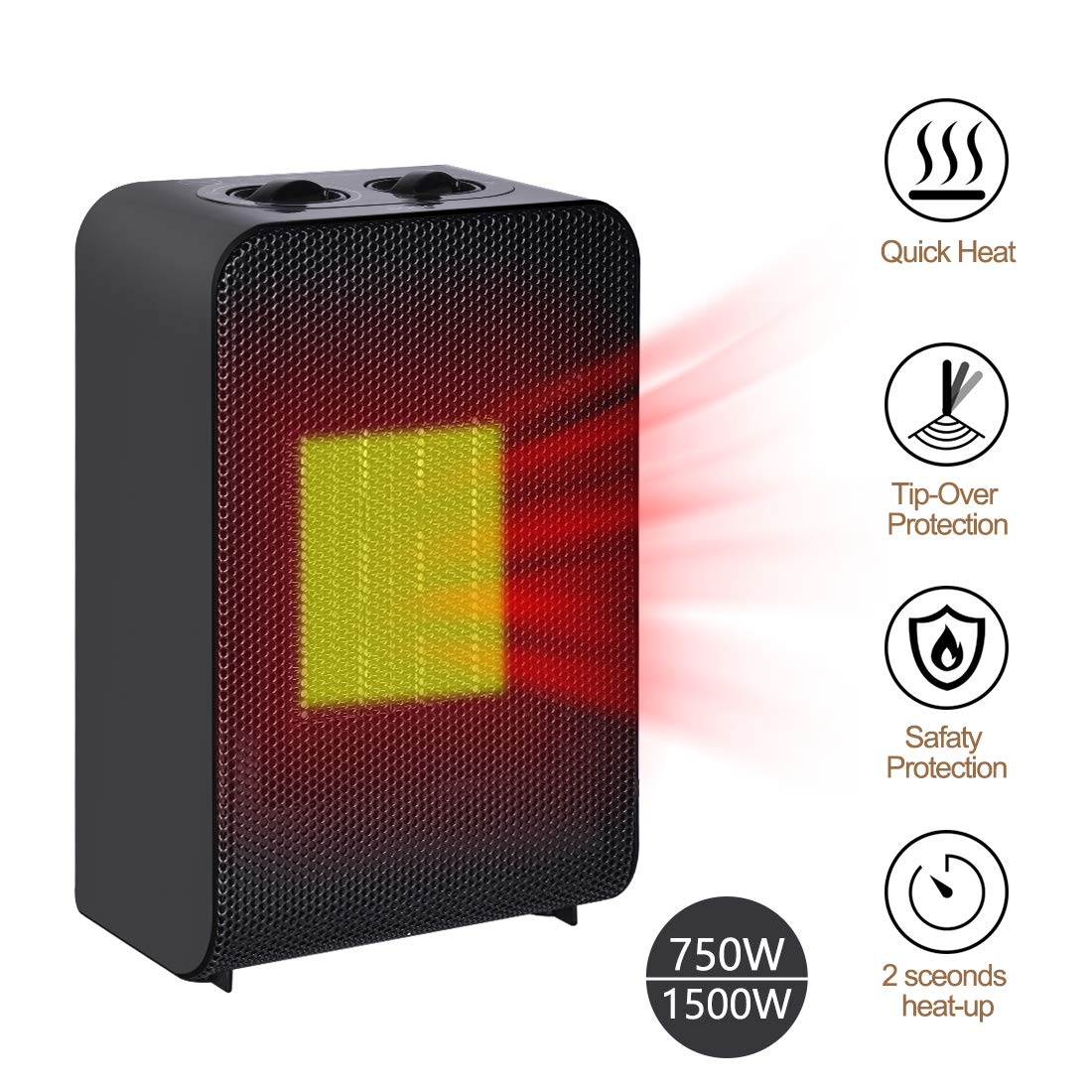 Iseebiz Space Heater Electric Space Heater with Adjustable Thermostat Ceramic Small Heater, Tip-Over and Overheat Protection, for Home and Office.