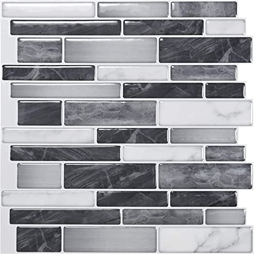 "Amazon.com: Art3d 10-Sheet Self-Adhesive Tile Backsplash for Kitchen, Vinyl Decorative Tiles, 12""x12"": Home & Kitchen"