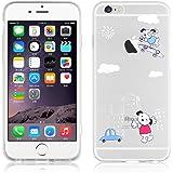 JAMMYLIZARD   Cover custodia in Silicone Trasparente con Sketch per iPhone 6 e 6s, CAGNOLINI SKATER SU NUVOLE